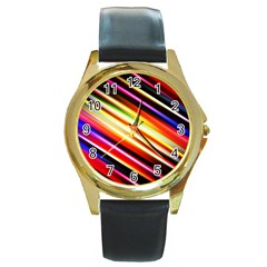 Funky Color Lines Round Gold Metal Watch