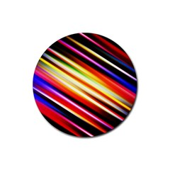 Funky Color Lines Rubber Coaster (Round)