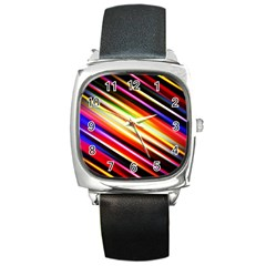Funky Color Lines Square Metal Watch