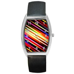 Funky Color Lines Barrel Style Metal Watch