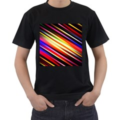 Funky Color Lines Men s T Shirt (black) (two Sided)