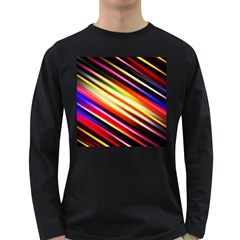 Funky Color Lines Long Sleeve Dark T-Shirts