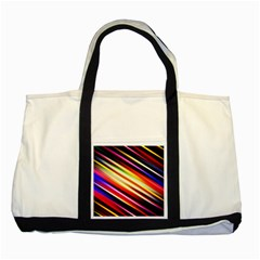 Funky Color Lines Two Tone Tote Bag