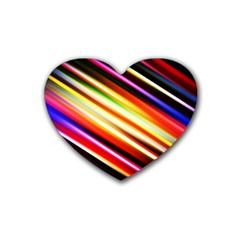 Funky Color Lines Rubber Coaster (heart)