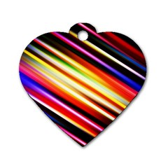 Funky Color Lines Dog Tag Heart (one Side)