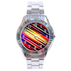 Funky Color Lines Stainless Steel Analogue Watch