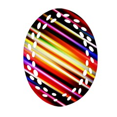 Funky Color Lines Oval Filigree Ornament (two Sides)