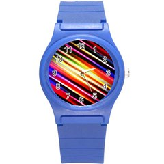 Funky Color Lines Round Plastic Sport Watch (S)