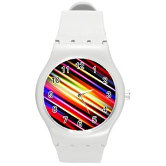 Funky Color Lines Round Plastic Sport Watch (m)