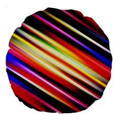 Funky Color Lines Large 18  Premium Round Cushions