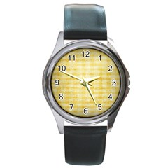 Spring Yellow Gingham Round Metal Watch