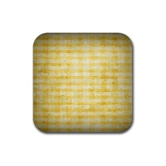Spring Yellow Gingham Rubber Square Coaster (4 Pack)
