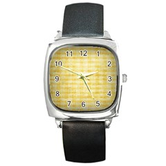 Spring Yellow Gingham Square Metal Watch