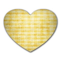 Spring Yellow Gingham Heart Mousepads
