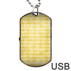 Spring Yellow Gingham Dog Tag Usb Flash (two Sides)