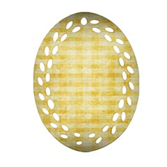 Spring Yellow Gingham Oval Filigree Ornament (Two Sides)