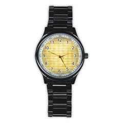 Spring Yellow Gingham Stainless Steel Round Watch