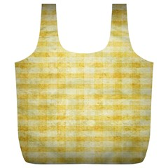 Spring Yellow Gingham Full Print Recycle Bags (L)