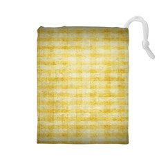 Spring Yellow Gingham Drawstring Pouches (large)