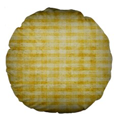 Spring Yellow Gingham Large 18  Premium Flano Round Cushions