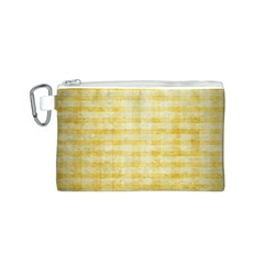 Spring Yellow Gingham Canvas Cosmetic Bag (S)