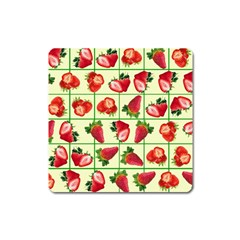 Strawberries Pattern Square Magnet