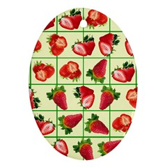 Strawberries Pattern Oval Ornament (Two Sides)