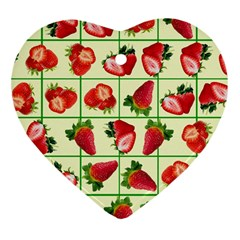 Strawberries Pattern Heart Ornament (Two Sides)