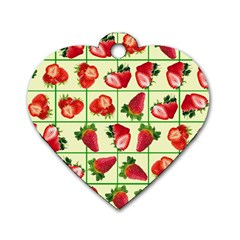 Strawberries Pattern Dog Tag Heart (One Side)