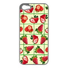 Strawberries Pattern Apple iPhone 5 Case (Silver)