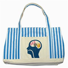Male Psyche Striped Blue Tote Bag