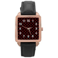 Alice Blue Quatrefoil in an English Country Garden Rose Gold Leather Watch