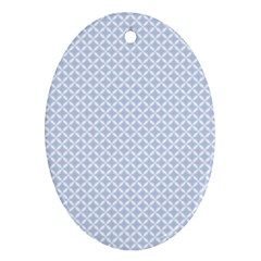 Alice Blue Quatrefoil in an English Country Garden Ornament (Oval)