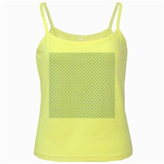Alice Blue Quatrefoil in an English Country Garden Yellow Spaghetti Tank