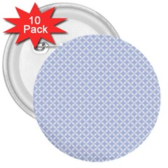 Alice Blue Quatrefoil in an English Country Garden 3  Buttons (10 pack)