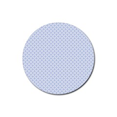 Alice Blue Quatrefoil in an English Country Garden Rubber Round Coaster (4 pack)