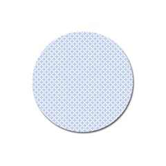 Alice Blue Quatrefoil in an English Country Garden Magnet 3  (Round)