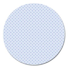 Alice Blue Quatrefoil in an English Country Garden Magnet 5  (Round)
