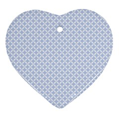 Alice Blue Quatrefoil in an English Country Garden Heart Ornament (Two Sides)