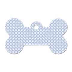 Alice Blue Quatrefoil in an English Country Garden Dog Tag Bone (Two Sides)