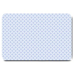 Alice Blue Quatrefoil in an English Country Garden Large Doormat