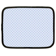 Alice Blue Quatrefoil in an English Country Garden Netbook Case (Large)