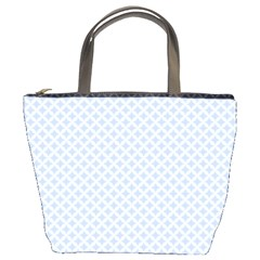 Alice Blue Quatrefoil in an English Country Garden Bucket Bags