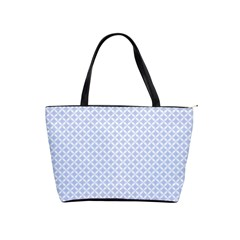 Alice Blue Quatrefoil in an English Country Garden Shoulder Handbags
