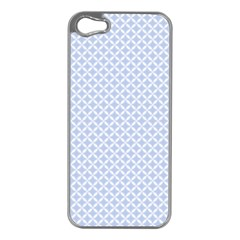 Alice Blue Quatrefoil in an English Country Garden Apple iPhone 5 Case (Silver)