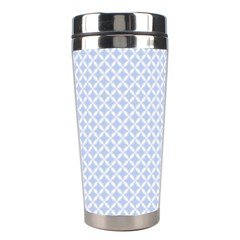 Alice Blue Quatrefoil in an English Country Garden Stainless Steel Travel Tumblers