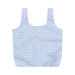Alice Blue Quatrefoil in an English Country Garden Full Print Recycle Bags (M)