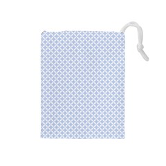 Alice Blue Quatrefoil in an English Country Garden Drawstring Pouches (Medium)