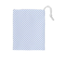 Alice Blue Quatrefoil in an English Country Garden Drawstring Pouches (Large)