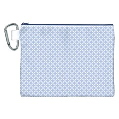 Alice Blue Quatrefoil in an English Country Garden Canvas Cosmetic Bag (XXL)
